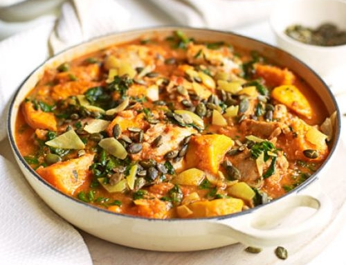 Spiced chicken, spinach & sweet potato stew